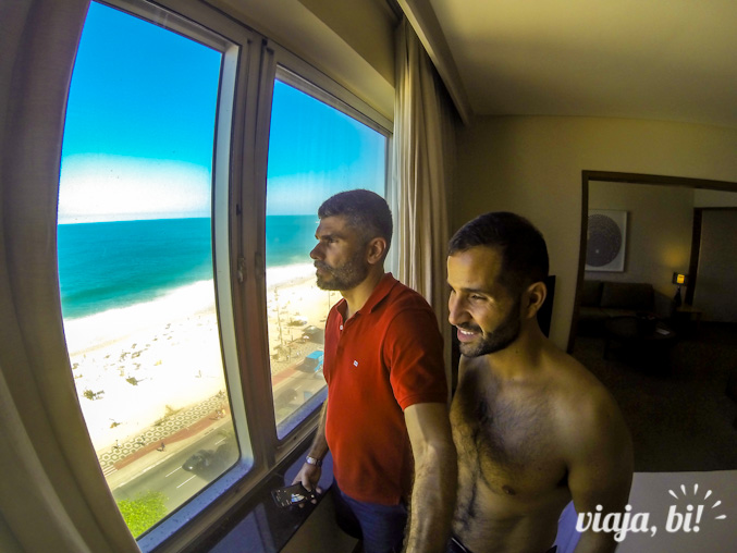 Vista para o mar em nossa suíte no Hotel Marina Palace