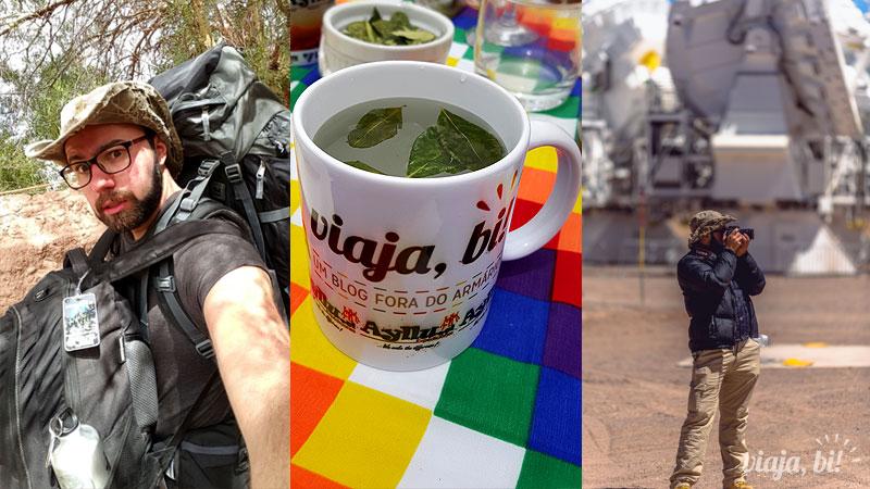 Atacama Gay: #BiMochileira, folhas de coca pra altitude na caneca do Viaja Bi! que o Rafa ganhou da Ayllu e fotografando no Projeto Alma