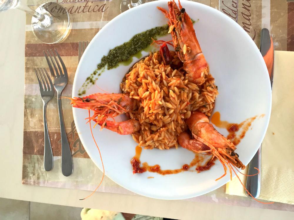 A comida de Mykonos é maravilhosa!