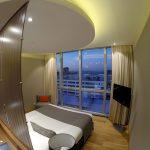 Meu quarto no Puerto Norte Design Hotel, com vista para o rio Paraná, em Rosário, na Argentina