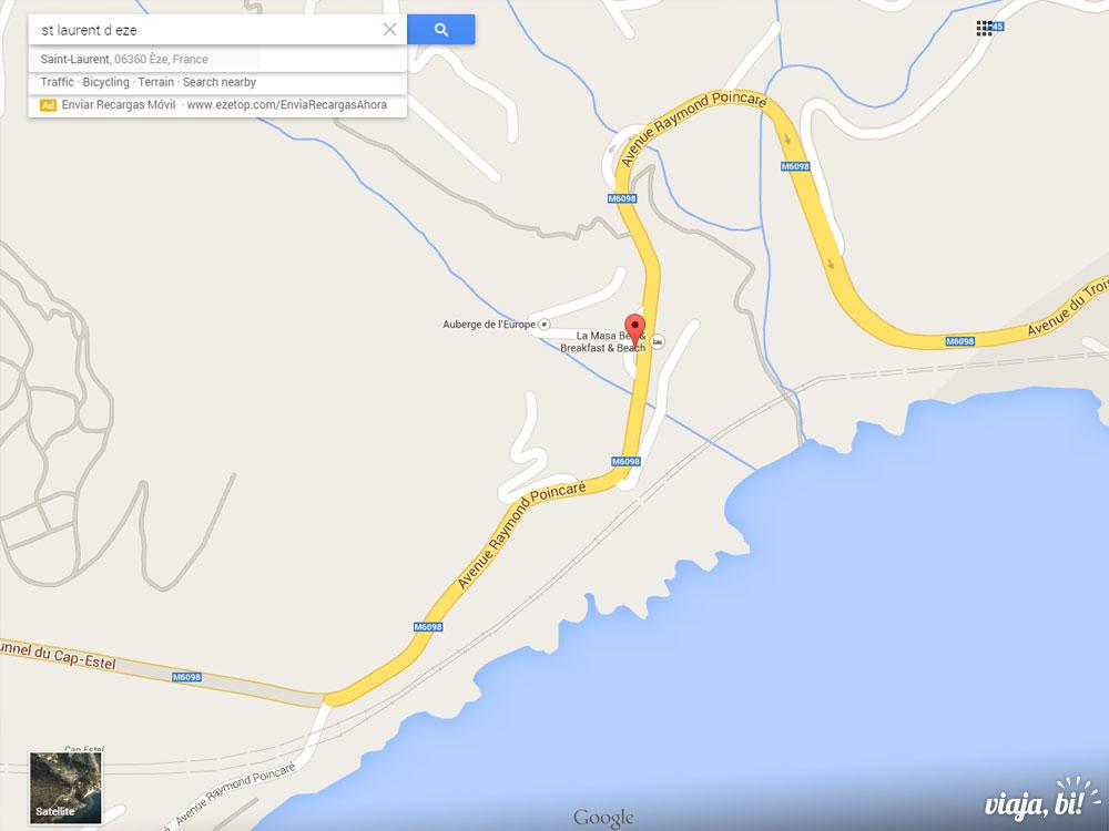 Mapa da praia de nudismo gay na França, St. Laurent d'Eze