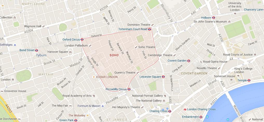 Mapa do bairro gay Soho, em Londres