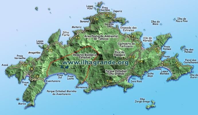 Aventura em Ilha Grande: Mapa das trilhas - Fonte: ilhagrande.org