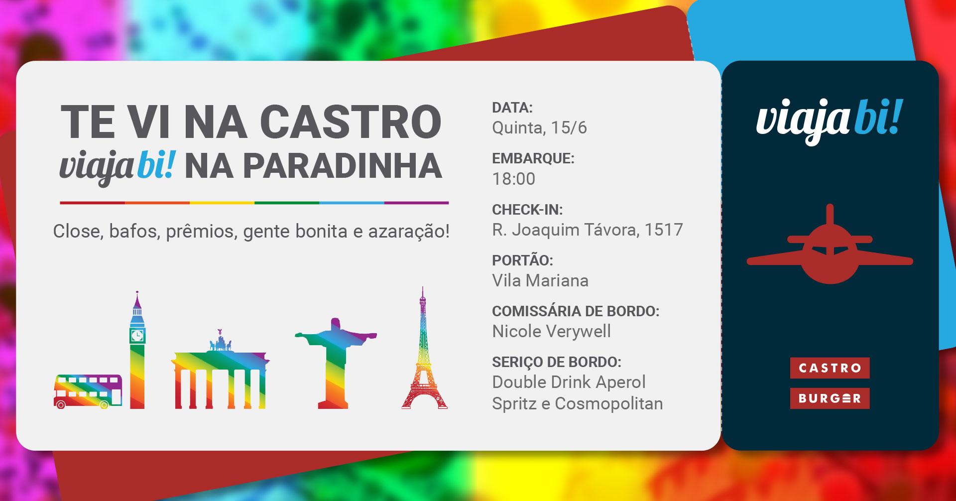 Convite do happy hour Viaja Bi! - #TeViNaCastroViajaBi! na Paradinha