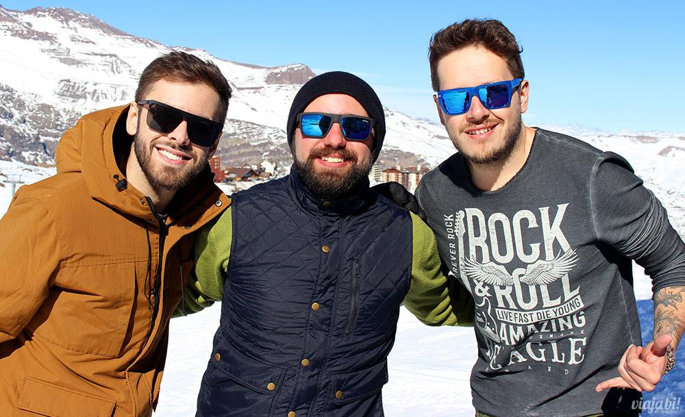 Fernando Escarião, Rafael Leick e Robson Franzoi no Valle Nevado