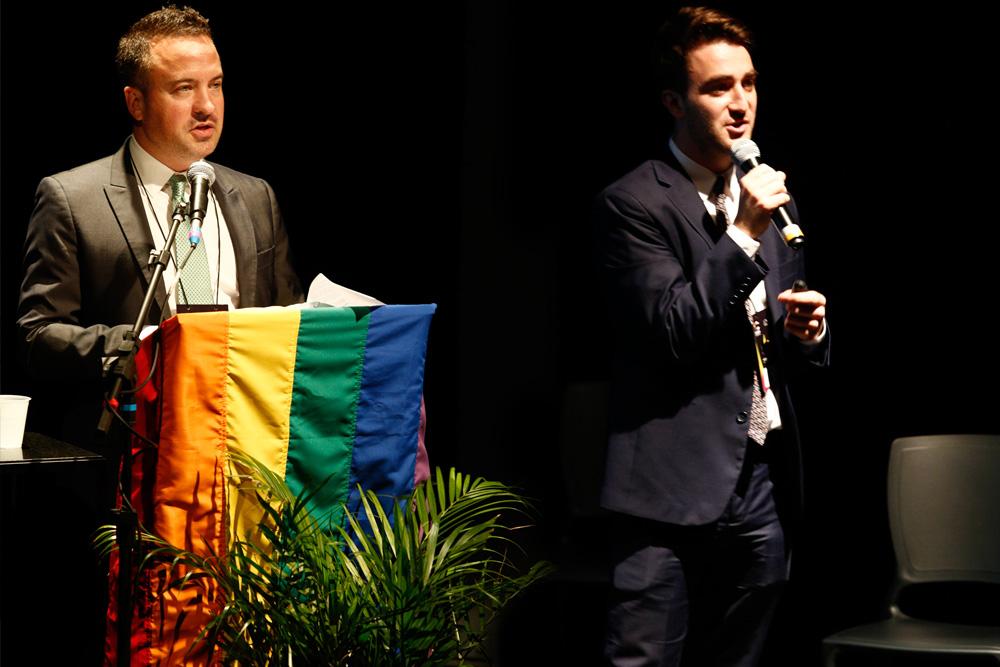 Chance Mitchell e Tyler Brent, da NGLCC, na 1ª Conferência Internacional da Diversidade e Turismo LGBT - Foto: Ricardo Cardoso