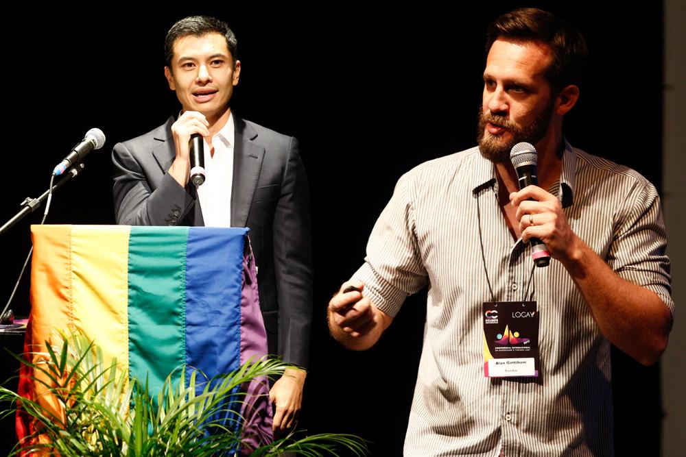Shoichi Iwashita e Alan Gattiboni apresentam Mônaco, Seychelles e Noruega na 1ª Conferência Internacional da Diversidade e Turismo LGBT - Foto: Ricardo Cardoso