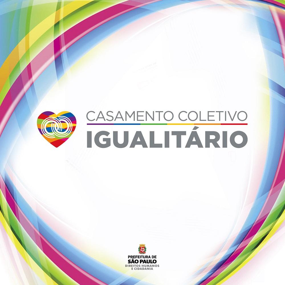 Arte de divulgação do casamento gay e lésbico coletivo em São Paulo